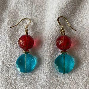 2/$15 red blue gold tone bead drop earrings